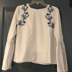 Blue and White Embroidered Striped Blouse